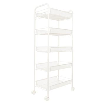 Exquisite Honeycomb Net Five Tiers Storage Cart with Hook Ivory White