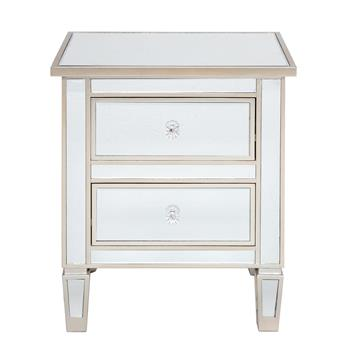 Modern and Contemporary Mirrored 2-Drawers Nightstand Bedside Table Silver Rose