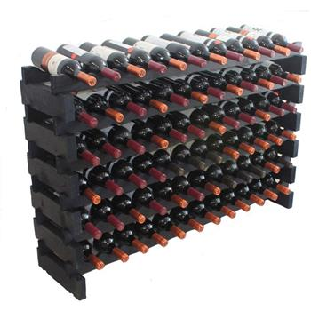 Wooden Stackable Modular Wine Rack Storage Stand Display Shelves, Wobble-Free,Black