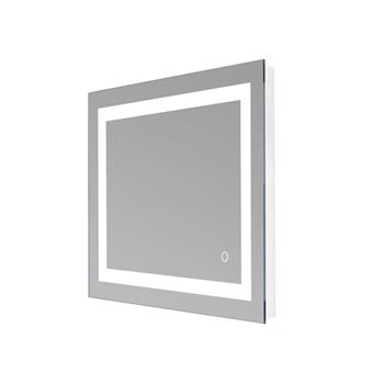 """32""""x 32"""" Square Built-in Light Strip Touch LED Bathroom Mirror Silver"""