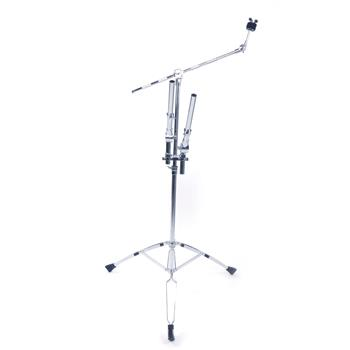 Professional Pedal Control Style Double Tom Drum Stand Silver & Black