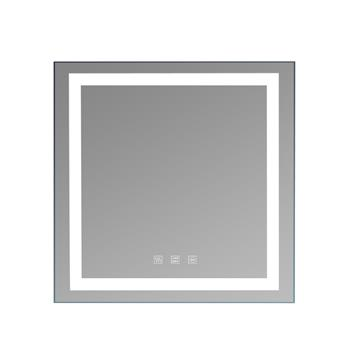 """Square Touch LED Bathroom Mirror, Tricolor Dimming Lights-32*32"""""""