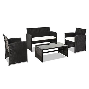 Outdoor Leisure Rattan Furniture Four-Piece-Black