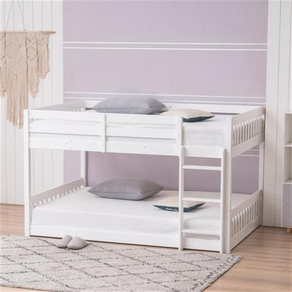 "Pine Wood Short Bunk Bed Vertical Bed Head 47.5 ""H Twin White"