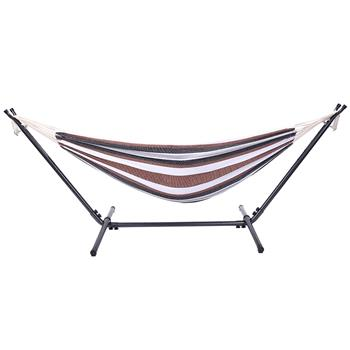 Professional Black & Silver Flowers Hammock Stand with Polyester Coffee Stripe Hammock