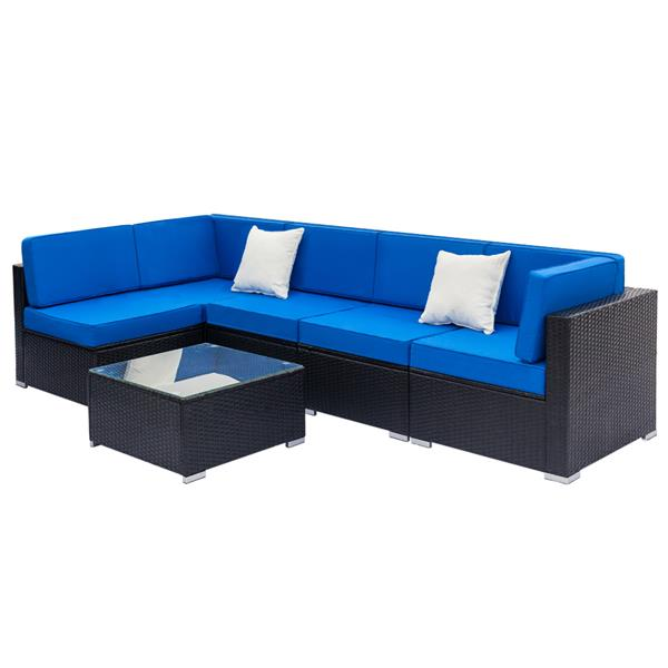 Fully Equipped Weaving Rattan Sofa Set with 2pcs Corner Sofas & 4pcs Single Sofas & 1 pcs Coffee Table Black-Left Sofa