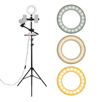 """6.3"""" Selfie Ring Light with Tripod Stand & Double Cell Phone Holder & Mic Stand & Multi-function Plate for Live Stream / Makeup Compatible with iPhone and Android Smartphone"""