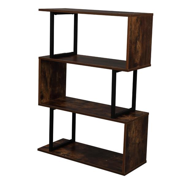 3-Tier Industrial Easy-Assembly Metal Frame Bookcase Storage Shelf for Living Room, Narrow, Bedroom, Office
