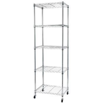 5-Tier Wire Shelving with Wheels for Garage Kitchen