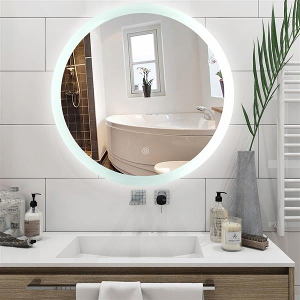 Smart LED Bathroom Mirror Single Key Mode 24*24 inch Circular Anti Fog LED White Light Belt(Color Temperature :5500 K Ultra White) Environmental Protection High Definition Silver Mirror