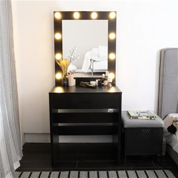 FCH Single Drawer Dresser with Light Cannon and Large Mirror Black Warm Light