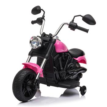 Kids Electric Ride On Motorcycle With Training Wheels 6V Pink