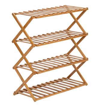 100% Bamboo Plant Frame 4 Layers, Balcony Bamboo Frame Folding Flower Frame, Indoor Office Balcony, Living room, Outdoor Garden Decoration--Natural