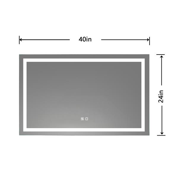 LED Bathroom Vanity Mirror, 40 x 24 inch, Anti Fog, Night Light, Dimmable, Touch Button,Superslim,90+ CRI, Waterproof IP44,Both Vertical and Horizontal Wall Mounted Way