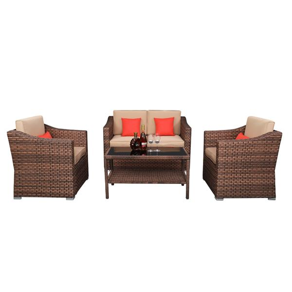 Wide Rattan   Double Contiguous Rattan Four-Piece Suit 1 Double 2 Single 1 Double Coffee Table Box 2 (Total Two   Boxes) Brown