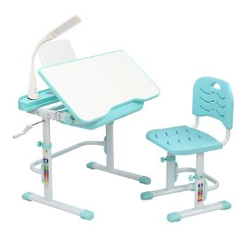 80CM Hand-cranked Lifting Top Can Tilt Children Learning Table And Chair Blue-Green (With Reading Stand   USB Interface Desk Lamp)