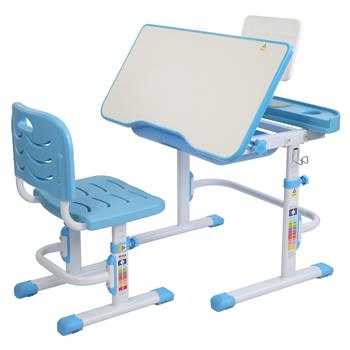 80CM Lifting And Lifting Desktop Can Tilt Children's Learning Desk And Chair Blue (With Reading Rack)