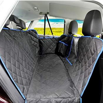 100% Waterproof Dog Car Seat Covers with Mesh Visual Window for Cars Trucks SUV Black and Blue Color