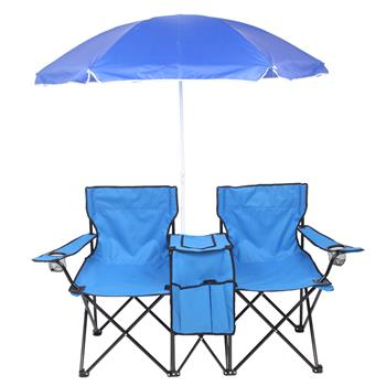 Portable Outdoor 2-Seat Folding Chair with Removable Sun Umbrella Blue