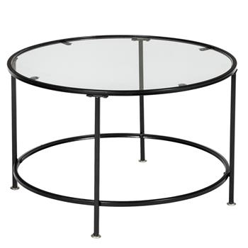 "HODELY 36"" 2 Layers 5mm Thick Tempered Glass Countertop Round Iron Art Coffee Table Black"