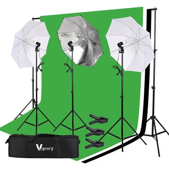 Kshioe 220V 45W Photo Photography Umbrella Lighting Kit Studio Light Bulb Non-Woven Fabric Backdrop Stand UK Standard