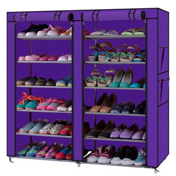 Fashionable Room-saving 12 Lattices Dual Rows Non-woven Fabric Shoe Rack Purple