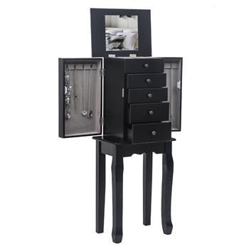 Standing Jewelry Armoire with Mirror, 5 Drawers & 6 Necklace Hooks, Jewelry Cabinet Chest with Top Storage Organizer , 2 Side Swing Doors(Black)