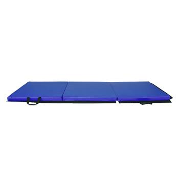 "55""x24""x1.2"" Tri-fold Gymnastics Yoga Mat with Hand Buckle Blue"