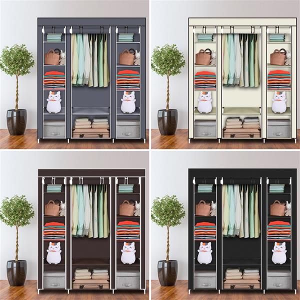 """69"""" Portable Clothes Closet Wardrobe Storage Organizer with Non-Woven Fabric  Quick and Easy to Assemble  Extra Strong and Durable Dark Brown"""