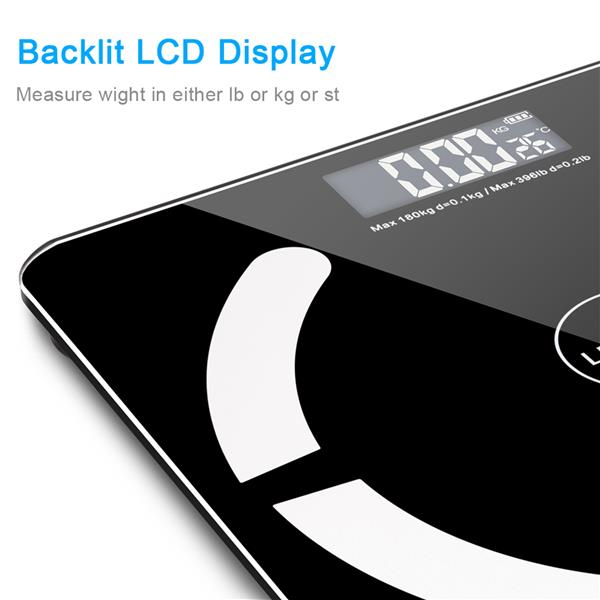 LEADZM Bluetooth Smart Digital Weighing Scale Body Fat Scale OKOK App Black