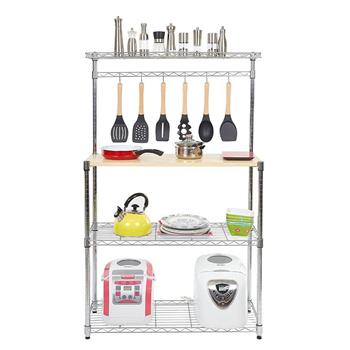 Four-tier Powder Coating Baker's Rack Microwave Oven Rack with MDF Board & 6pcs Wave Rod Silver