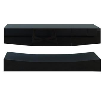 120cm LED TV Cabinet With Upper And Lower Wall Black