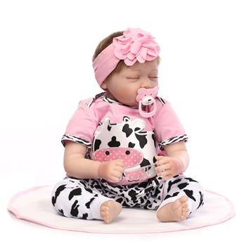 "22"" Mini Cute Simulation Baby Sleeping Baby in Cow Pattern Clothes Pink"
