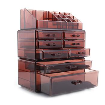 3Pcs / Set Plastic Cosmetics Storage Rack 6 Small & 2 Large Drawers Clear Brown