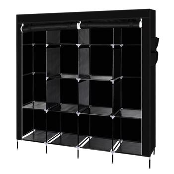 "67"" Clothes Closet Portable Wardrobe Clothes Storage Rack 12 Shelves 4 Side Pockets Black"