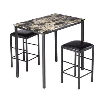 [90 x 60 x 82] cm Marble Face High Dining Table and Chair Cushion Black 3 Piece Set 1 Table   2 Chairs