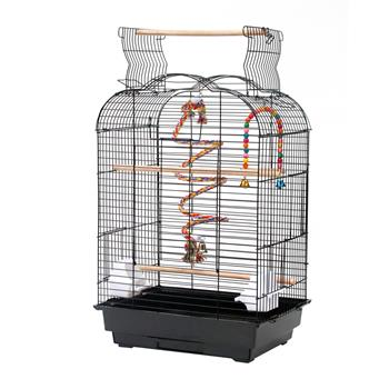 """27"""" Bird Cage Pet Supplies Metal Cage with Open Play Top with tow Additional Toys Black"""