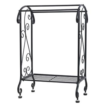 Coffee Brown Metal Free Standing Towel Rack Stand with Shelf