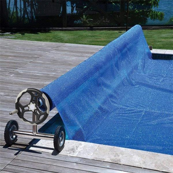 18 Ft Aluminum Inground Solar Cover Swimming Pool Cover Reel Silver