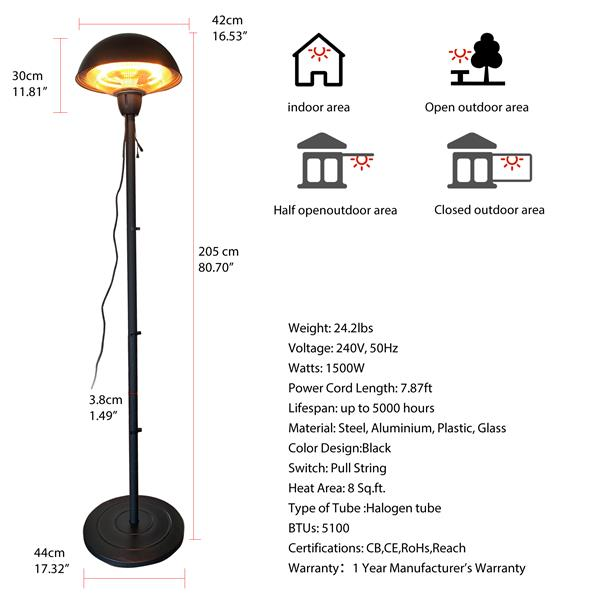 Outdoor Freestanding Electric Patio Heater, Infrared Heater Portable Heater ZHQ1566-B-S