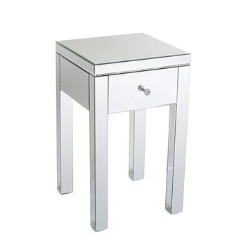 Modern and Contemporary Small 1 Drawer Mirrored Nightstand Bedside Table