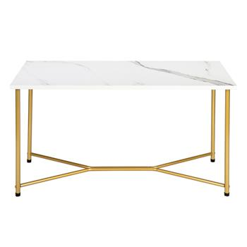 HODELY Single Layer 1.5cm Thick Density Board Imitation Marble Square Table Top Gold Foot Iron Coffee Table White