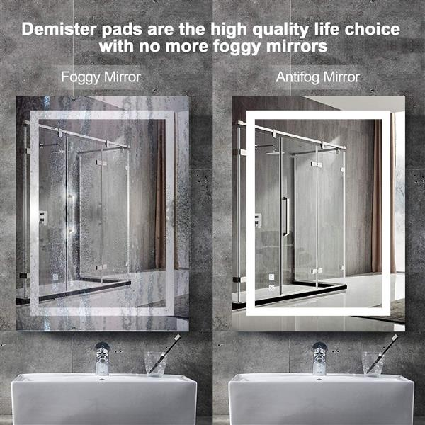 LED Vanity Bathroom Mirror with Light, 36 x 28 inch, Anti Fog, Dimmable, Touch Button, Night Light,90+ CRI, Waterproof IP44,Both Vertical and Horizontal Wall Mounted Way