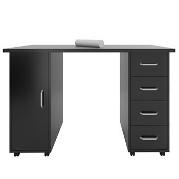 Double Edged Manicure Nail Table with Drawer Black