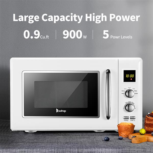 ZOKOP B25UXP45-A90 / White 23L/0.9cuft Retro Microwave with Display / Silver Handle
