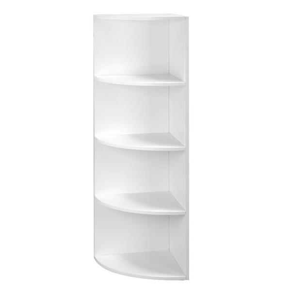 4-Tier White Color Corner Shelf Unit, Freestanding Display Storage Shelves and Wooden Bookcase, for Kitchen, Living Room, Study Room