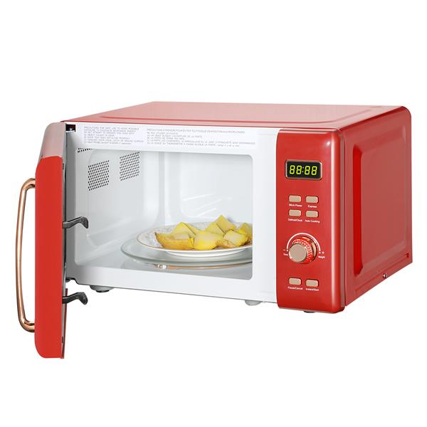 ZOKOP B20UXP52 / Red 20L / 0.7cuft Retro Microwave With Display / Golden Handle