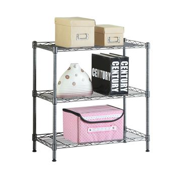 Concise 3 Layers Carbon Steel & PP Storage Rack Black