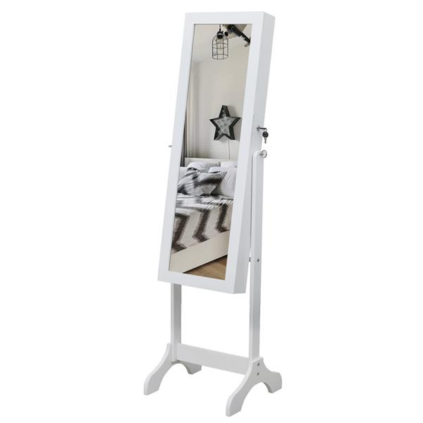 Non full mirror wooden floor type 4-layer shelf, 2 drawers, 8 Blue LED lights, jewelry storage, adjustable mirror cabinet - White