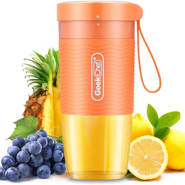 Geek Chef Portable Blende Small Smoothie and Shakes Blender Cordless Small Blender Cup, USB Rechargeable BPA-Free Tritan,10oz/300ml, Auto-off (Orange)